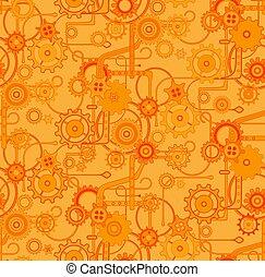 marrone, modello, seamless, vettore, fondo, meccanico, arancia