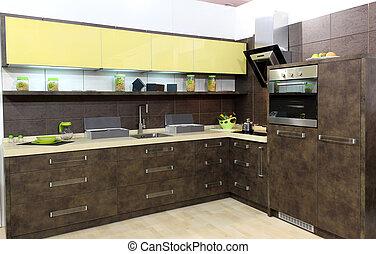 marrone, moderno, cucina