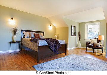 marrone, moderno, letto, verde, camera letto, fresco