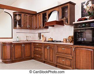 marrone, moderno, lussuoso, apparecchi, nuovo, cucina