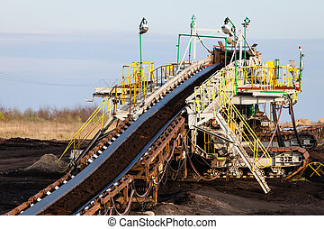 marrone, opencast, conveyor., mine., carbone, cintura