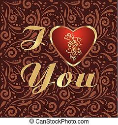 marrone, ornamentale, modello, con, lucente, cuore, a, il, giorno valentines