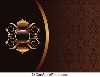 marrone, oro, cornice, -, illustrazione, elegante, imballaggio, vettore, nero, invito, disegno, o