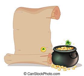 marrone, oro, vaso, monete, lungo, accanto, carta