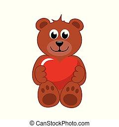 Cuore marrone peloso orso sorridente cartone animato