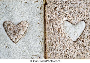 marrone, pane bianco, cuori
