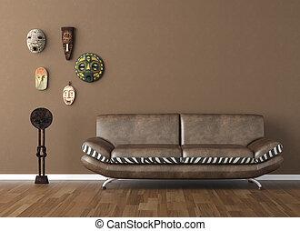 marrone, parete, con, tribale, maschere, e, divano