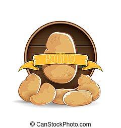 marrone, patata, legno, dolce, isolato, etichetta, fondo., vettore, mucchio, patate, rotondo