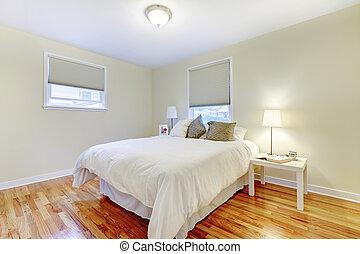 marrone, pavimento, legno duro, walls., simplistic, beige, camera letto, interno, bianco