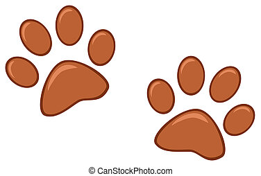 marrone, paw stampe