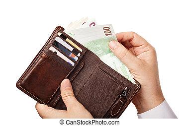 marrone, pieno, presa a terra, euros, banconote, soldi, sopra, -, isolato, uomo affari, (eur), portafoglio, vario, fondo, mani, bianco