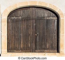 marrone, pietra, porta, medievale, parete legno