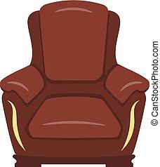 marrone, poltrona, isolato, lusso, fondo, bianco