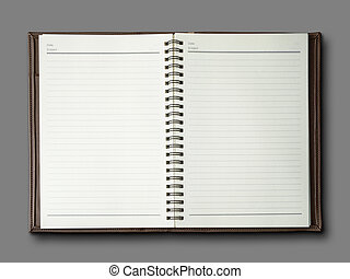 marrone, quaderno, coperchio