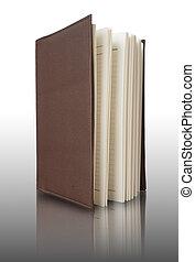 marrone, quaderno, coperchio, verticalmente