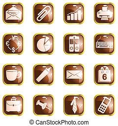 marrone, quadrato, ufficio, lucentezza, bottoni, alto