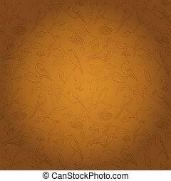 marrone, rami, pendenza, luminoso, vettore, rowan, fondo, bacche, uccelli