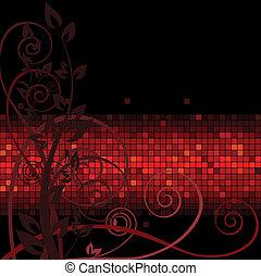 marrone, ramoscelli, rosso, striscia