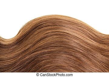 marrone, sano, diritto, isolato, onda, capelli, bianco