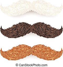 marrone, set, isolato, bianco, baffi, rosso