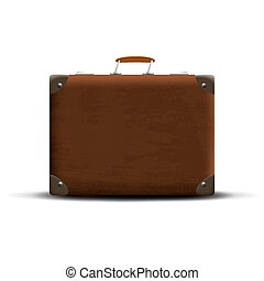 marrone, sfondo bianco, valigia