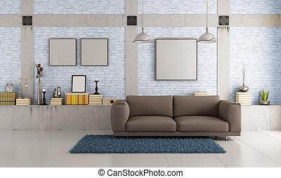 marrone, soffitta, divano