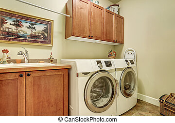 marrone, stanza bucato, moderno, gabinetto, apparecchi, vanità