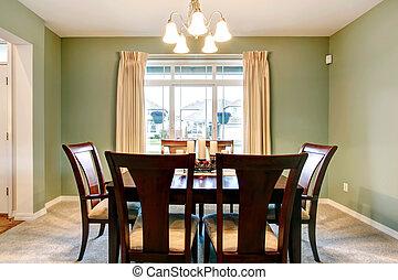 marrone, stanza, furniture., classico, cenando, verde, interno
