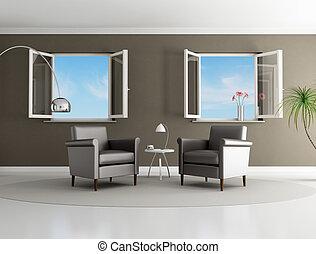 marrone, stanza moderna, vivente