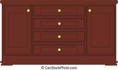 marrone, stile, fatto, drawers., furniture., percorsi,...