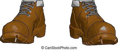 marrone, stivali, vettore, illustrazione, fondo, militare, bianco