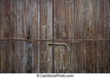 marrone, su, invecchiato, padlock., porta legno, arrugginito, dettagli, chiudere, chiavistello
