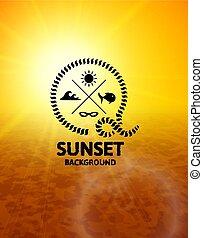 marrone, superficie, acqua, tramonto, mare giallo