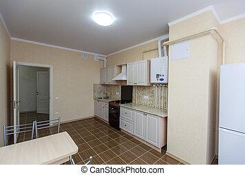 marrone, tegole, floor., tavola, house., appliances., recentemente, rinnovato, cucina, luminoso, set, frigorifero, bianco, cenando, chairs., famiglia, nuovo