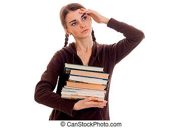 marrone, testa, lotto, lei, stanco, studente, isolato, uno, secondo, libri, proposta, fondo, mano, ragazza, sport, bianco, vestiti