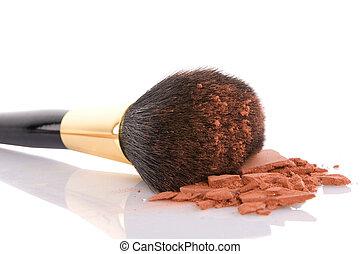 marrone, trucco, polvere, spazzola