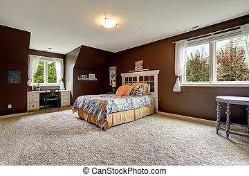 marrone, ufficio, zona, colorare, scuro, maestro, camera letto