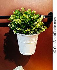marrone, vaso, fondo., verde bianco, fiori