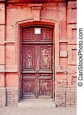 marrone, vecchio, astrakhan, porta, russia
