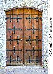 marrone, vecchio, porta