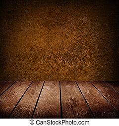 marrone, vecchio, stanza, pavimento, parete, legno