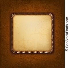 marrone, vecchio, vendemmia, leather., illustrazione, carta, vettore, fondo