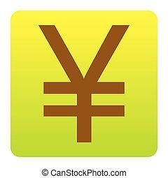 marrone, verde-giallo, quadrato, arrotondato, yen, isolated., angoli, segno., pendenza, fondo., vector., bianco, icona