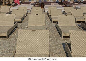 marrone, vimine, loungers, spiaggia sabbia, fila