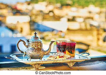 marroquino, chá mint, com, doces