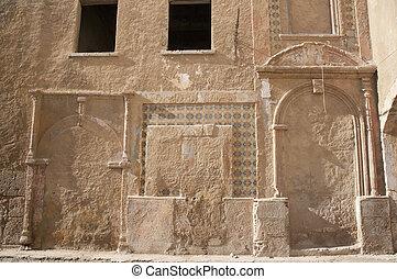 marruecos, el-jadida, calle, pared, arruinado