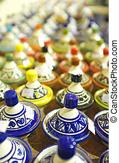 marruecos, mercado, tajines