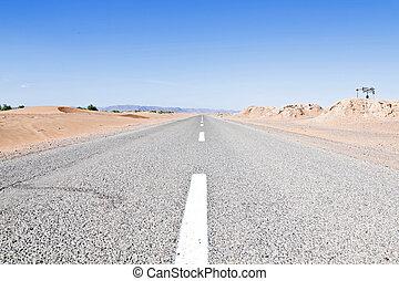 marruecos, por, desierto, camino
