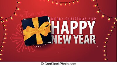 Marry Christmas and Happy New Year banner on red background....
