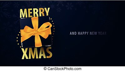 Marry Christmas and Happy New Year banner on dark...
